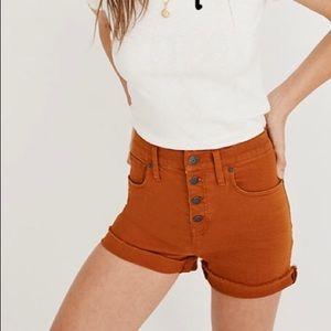 Madewell high rise button up denim shorts